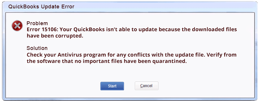 Quickbooks Error 15106 while updating payroll: Causes & Solution
